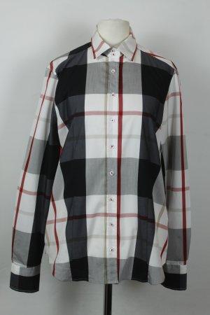 Eterna Hemd Bluse Gr. 38 weiß schwarz grau Glen Check