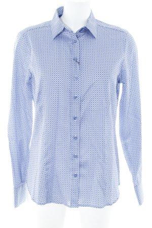 Eterna Hemd-Bluse stahlblau-weiß abstraktes Muster Vintage-Look