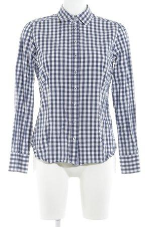 Eterna Hemd-Bluse weiß-dunkelblau Karomuster Business-Look