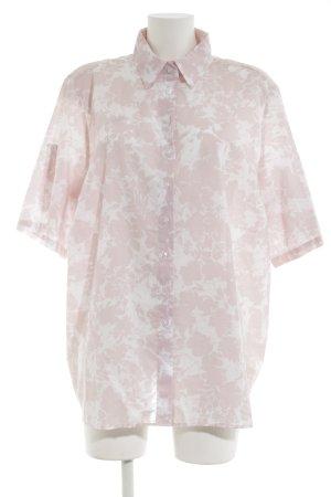 Eterna Kurzarm-Bluse pink-weiß Allover-Druck Casual-Look