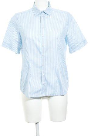 Eterna Kurzarm-Bluse babyblau-weiß Streifenmuster Casual-Look