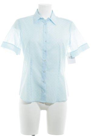 Eterna Kurzarm-Bluse hellblau-weiß Punktemuster Casual-Look