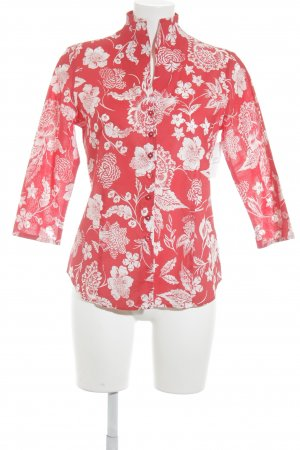 Eterna Kurzarm-Bluse neonrot-weiß florales Muster Street-Fashion-Look