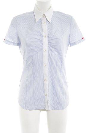 Eterna Kurzarmhemd weiß-blau Streifenmuster Casual-Look
