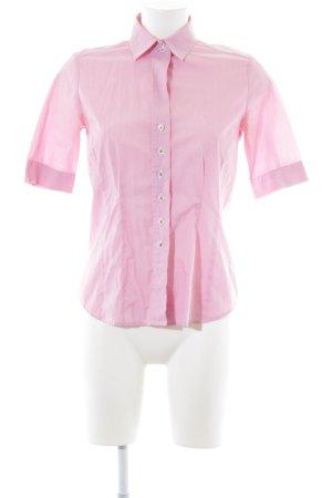 Eterna Camicia a maniche corte rosso chiaro-bianco gessato stile casual
