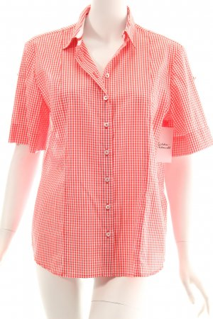 Eterna Short Sleeve Shirt white-bright red Vichy check pattern athletic style