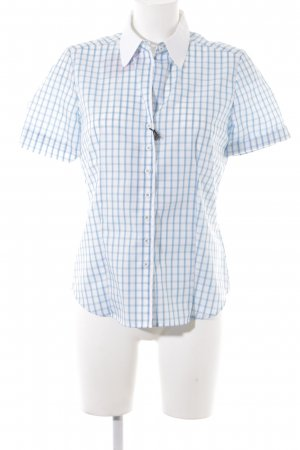 Eterna Short Sleeve Shirt white-neon blue check pattern business style