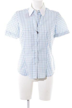 Eterna Camicia a maniche corte bianco-blu neon motivo a quadri
