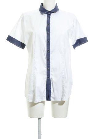 Eterna Camisa de manga corta blanco-azul acero look casual