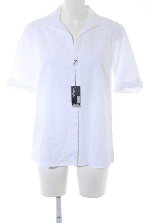 Eterna Shirt met korte mouwen wit gestreept patroon zakelijke stijl