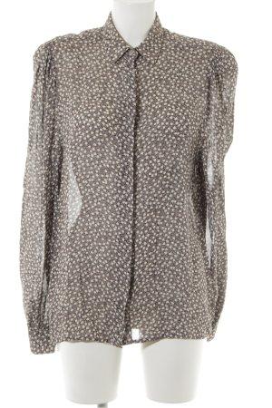 Eterna Langarm-Bluse graubraun-creme Blumenmuster schlichter Stil