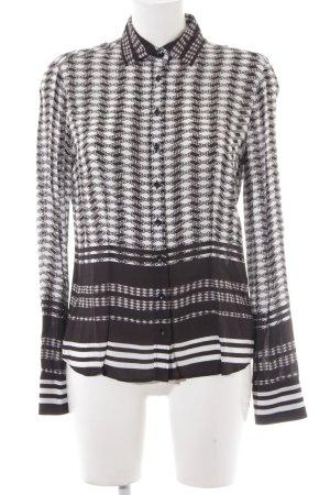 Eterna Langarm-Bluse schwarz-weiß abstraktes Muster Casual-Look