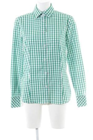 Eterna Langarm-Bluse waldgrün-wollweiß Karomuster klassischer Stil