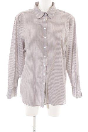 Eterna Langarm-Bluse weiß-graubraun Streifenmuster Business-Look