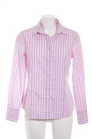 Eterna Langarm-Bluse weiß-rosa Karomuster klassischer Stil