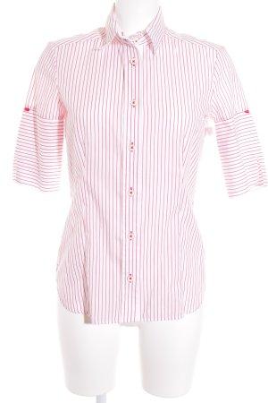 Eterna Langarm-Bluse weiß-rot Streifenmuster Casual-Look