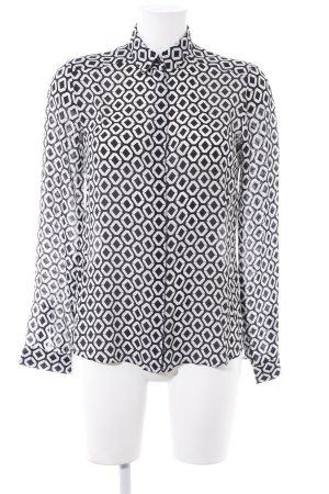 Eterna Langarm-Bluse weiß-schwarz abstraktes Muster Casual-Look