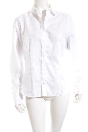 Eterna Langarm-Bluse weiß Webmuster klassischer Stil