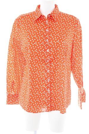 Eterna Langarm-Bluse wollweiß-orange Punktemuster extravaganter Stil