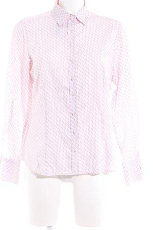 Eterna Shirt met lange mouwen roze-wit grafisch patroon zakelijke stijl