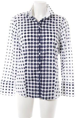 Eterna Langarmhemd weiß-dunkelblau Punktemuster Casual-Look