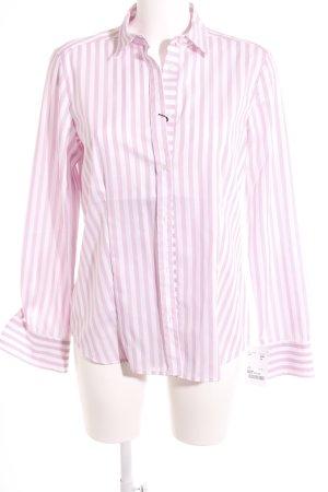 Eterna Langarmhemd weiß-rosa Streifenmuster Casual-Look