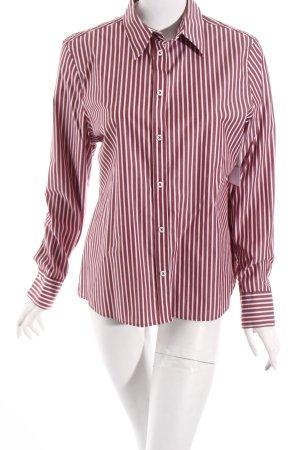 Eterna Langarmhemd weiß-rostrot Streifenmuster Casual-Look