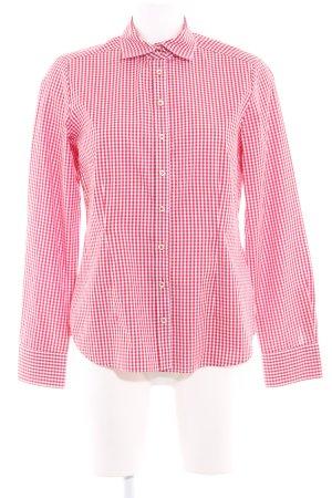 Eterna Langarmhemd ziegelrot-weiß Karomuster klassischer Stil