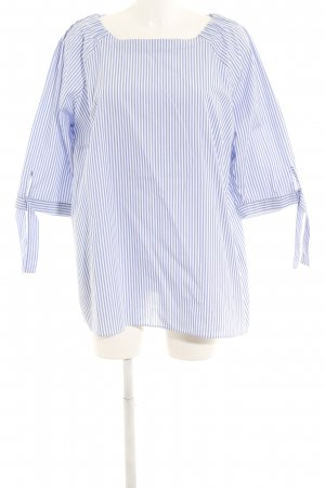 Eterna Blusa larga azul-blanco estampado a rayas look casual