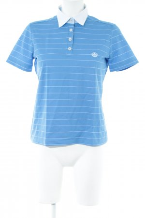 Eterna Polo-Shirt blau-weiß Streifenmuster Casual-Look