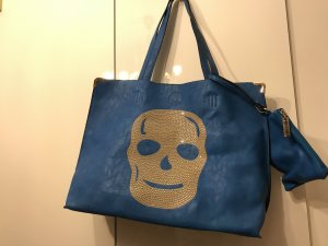Handbag blue-silver-colored