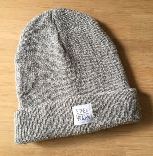 Knitted Hat silver-colored synthetic fibre