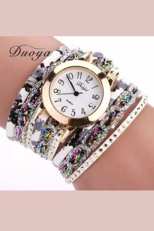 Ethno Armbanduhr Weiß Doyoya