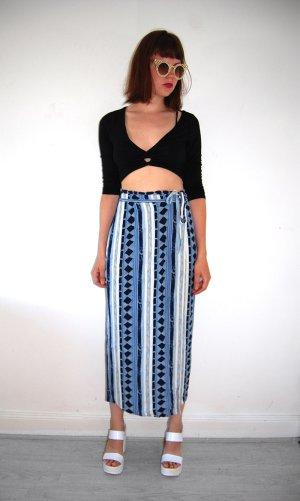 ethno aztec wickelrock high waist sommer festival blau weiß S