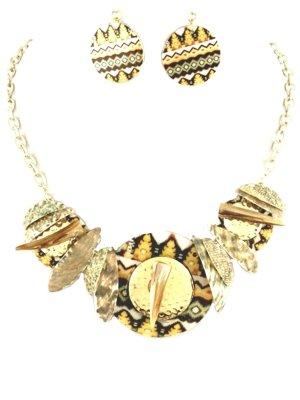 Ethno Handarbeit Schmuckset Set Kette Ohrringe Echten Muscheln Print Bemalt Gold Gelb Weiß Orange