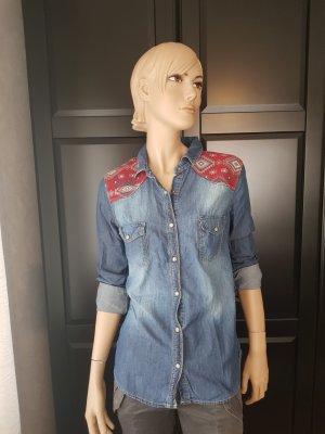 Pimkie Chemise en jean rouge-bleu coton