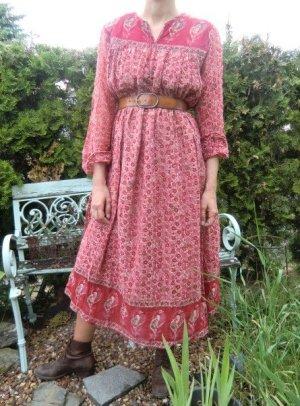 Ethno Kleid 60er 70er TRUE VINTAGE Sommerkleid Woodstock Flower Power geblümt Hippiekleid Boho Midikleid Print Muster BlumenHippie Kaftan India Festival