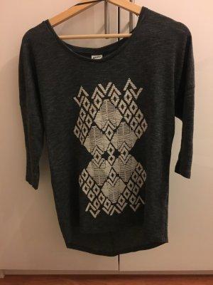 Ethno Shirt Grau weiß mit Muster