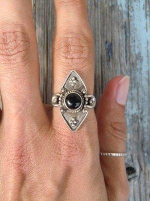 Ethno Silber Ring 925 mit schwarzem Stein Onyx Sterling Echtsilber True Vintage Boho