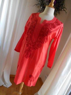 Robe tunique rouge coton