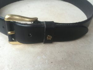Aigner Leather Belt black-gold-colored leather