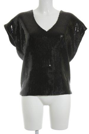Etincelle Couture V-Ausschnitt-Shirt schwarz Glanz-Optik