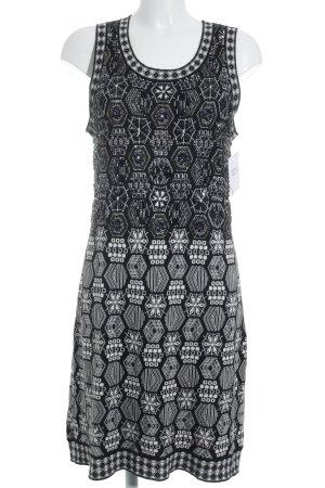Etincelle Couture Vestido de lana negro-blanco estampado con diseño abstracto