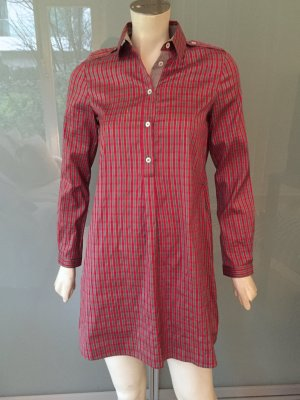 ETRO Bluse Kleid Rot Blau Kariert 34 Bluse Seide Silk Shirt Dress Red XS