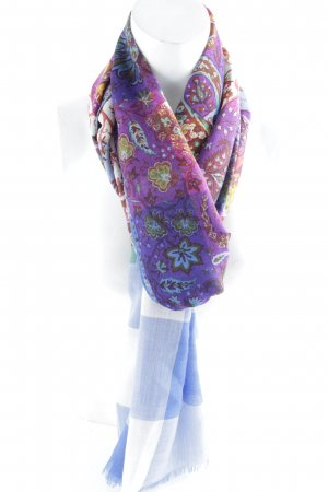 Etro Fringed Scarf floral pattern patchwork look
