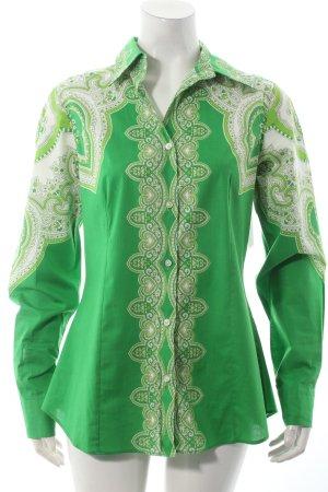 Etro Hemd-Bluse grün-weiß florales Muster 70ies-Stil