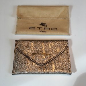 Etro Card Case gold-colored leather