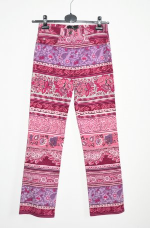 Etro Milano Hose Jeans Floral Paisley Pink rosa Fuchsia IT 42