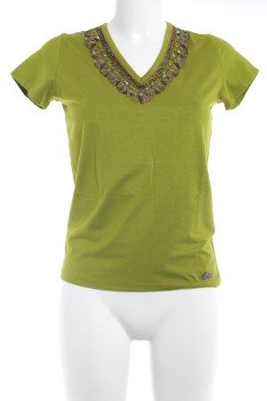 Etro Milano Camisa con cuello V verde oliva look casual
