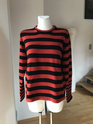 Etro Pullover Strickpullover rot schwarz gestreift mit Viskose und Kaschmir